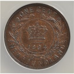 1894 Newfoundland One Cent - ANACS AU-55.