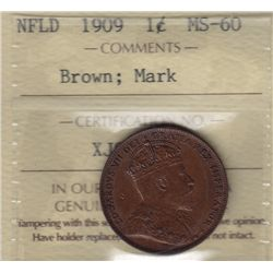 1909 Newfoundland One Cent - ICCS MS-60 Brown; mark.