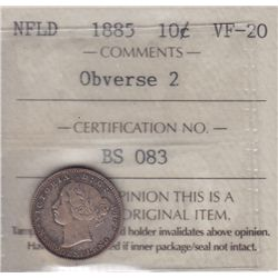 1885 Newfoundland Ten Cent - ICCS VF-20, Obverse 2.