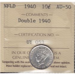 1940 Newfoundland Re-engraved Ten Cent  - ICCS AU-50.