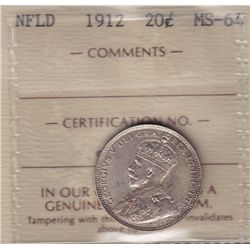1912 Newfoundland Twenty Cent  - ICCS MS-64.