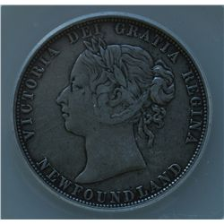 1881 Newfoundland Fifty Cent - ANACS VF-30 , scratch to the left of chin.