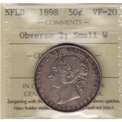 1898 Newfoundland Fifty Cent - ICCS VF-20, Obverse 2, Small W.