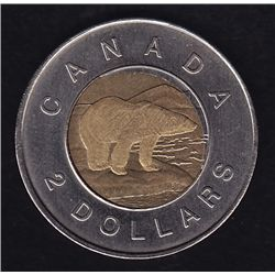 Lot of Two Center Off-set $2 Coins - Centers are off struck. Dates include 1996, 1999 Nunavut.