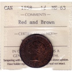 1858 One Cent  - ICCS MS-63 Red & Brown.