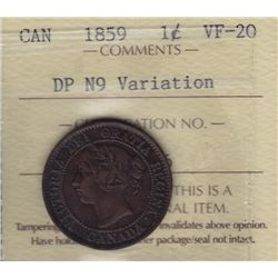1859 One Cent - ICCS VF-20 DP N9 Variety.