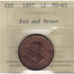 1887 One Cent  - ICCS MS-63 Red and Brown.