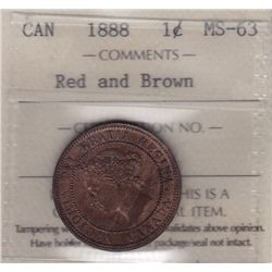 1888 One Cent - ICCS MS-63 Red and Brown.