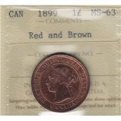 1899 One Cent - ICCS MS-63 Red and Brown.