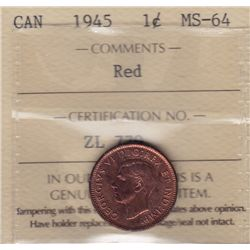 1945 One Cent  - ICCS MS-64 Red.