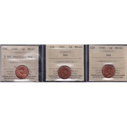 Lot of 3 ICCS Graded Small One Cents - Dates include: 1949 A off Denticle, 1950, 1951 - All MS-65 Re