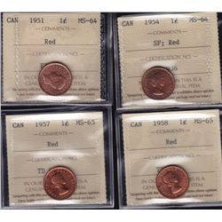 Lot of 4 ICCS graded small One Cents - 1951 MS-64 Red; 1954 MS-64 SF, Red; 1957 MS-65 Red; 1958 MS-6