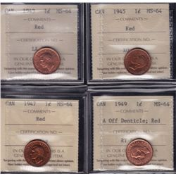 Lot of 4 ICCS graded small One Cents - Dates include: 1943,45,47,49 A off Denticle. All ICCS MS-64,