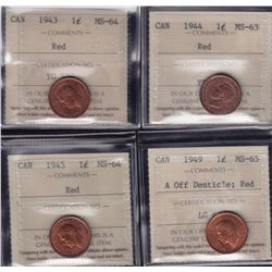 Lot of 4 ICCS graded small One Cents - 1943 MS-64 Red; 1944 MS-63 Red; 1945 MS-64 Red; 1949 MS-65 A