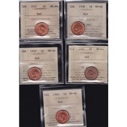 Lot of 5 ICCS graded small One Cents - 1937 MS-64 Red; 1938 MS-64 Red; 1939 MS-65 Red; 1941 MS-63 Re