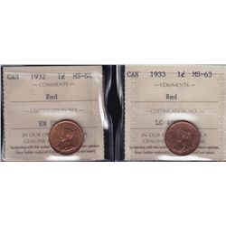 Lot of 2 ICCS graded small One Cents - 1932 MS-64 Red; 1933 MS-63 Red. 2 Pcs.