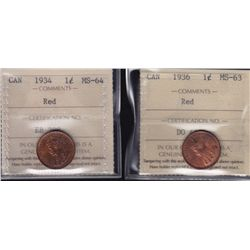 Lot of 2 ICCS graded small One Cents - 1934 MS-64 Red; 1936 MS-63 Red. 2 Pcs.