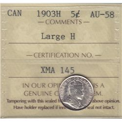 1903H Five Cent - ICCS AU-58, Large H Variety.