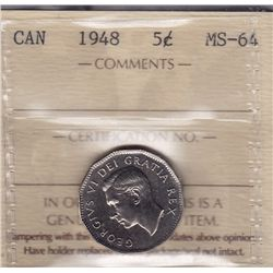 1948 Five Cent - ICCS MS-64.