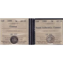 Lot of Two Five Cents  - Dates include: 1899 ICCS AU-55 cleaned and 1900 Round O; harshly cleaned IC
