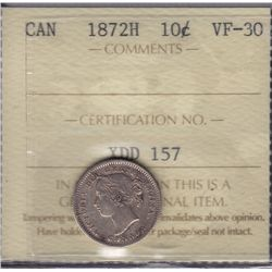 1872H Ten Cent  - ICCS VF-30.