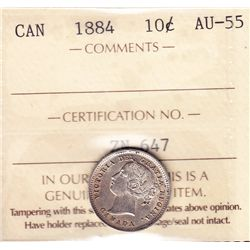 1884 Ten Cent - ICCS AU-55, key date.