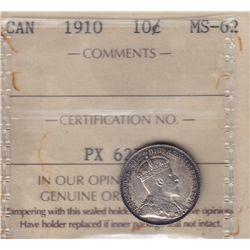 1910 Ten Cent  - ICCS MS-62.