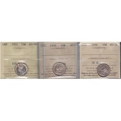 Lot of Three Ten Cents  - 1931 ICCS AU-50; 1932 ICCS AU-55; 1936 ICCS AU-58. 2 Pcs.