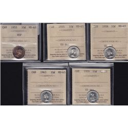 Lot of Five ICCS Graded MS-65 Ten Cents - Dates include: 1953 NSF, 1955, 1958, 1959, 1963. Nice High