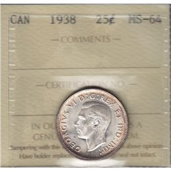 1938 Twenty Five Cent - ICCS MS-64.