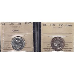 Lot of Two Twenty Five Cent Proof Like Coins  - 1956 ICCS PL-65 Cameo; 1957 ICCS PL-66. 2 Pcs.