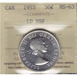 1953 Fifty Cent - ICCS MS-63 Large Date, no shoulder fold variety.