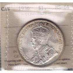 1936 Silver Dollar - ICCS MS-64.