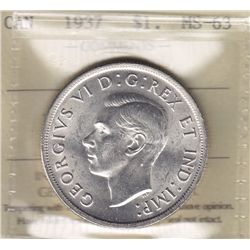 1937 Silver Dollar - ICCS MS-63.