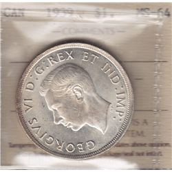 1939 Silver Dollar - ICCS MS-64 Full Lustre, white.