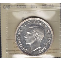 1939 Silver Dollar - ICCS MS-64 Cameo.
