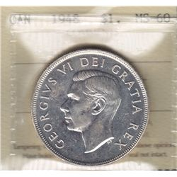 1948 Silver Dollar - ICCS MS-60, The King of Dollars.