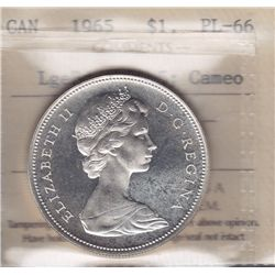 1965 Silver Dollar  - ICCS PL-66. Large Beads Blunt 5; Cameo.