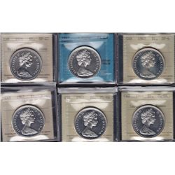 Lot of Six Silver Dollars - Dates include: 1966 Large beads, cameo ICCS PL-64; 1967 ICCS PL-64 cameo