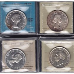 Lot of Four Silver Dollars - Dates include: 1950 Arnprior ICCS AU-55; 1961 ICCS PL-65; 1963 ICCS MS-