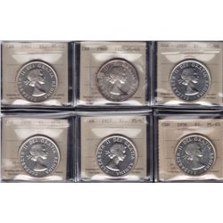 Lot of Six Silver Dollars - Dates include: 1956,57,58,59,60,61. All ICCS PL-65. 6 Pcs.
