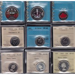 Lot of Nine Graded Coins - Includes: 1962 Twenty Five Cent ICCS MS-64 cameo, 1970 Twenty Five Cent I