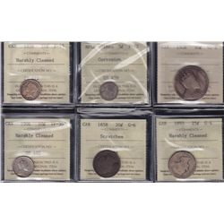 Lot of Six Graded Coins  - All ICCS certified. Includes: 1858 Ten Cent F-15, harshly cleaned. 1906 T