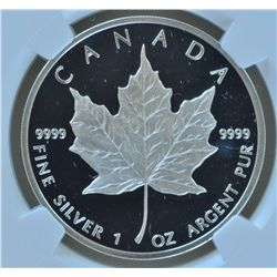 1989 Proof $5 Silver Maple Leaf  - NGC Proof68 Ultra Cameo.