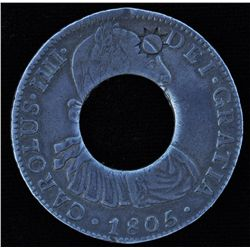 CH PE-1A1, PEI Holey Dollar, 1805 - Spanish eight real pieces were commonly used as currency on Prin