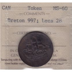 CH PE-10-28  - BR 997; Lees 28, Ships Colonies and Commerce Token ICCS MS-60.