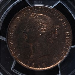 CH NS-5A1 - BR 876, 1856 Nova Scotia One Penny Token, PCGS MS64RB. Ex:Temple.