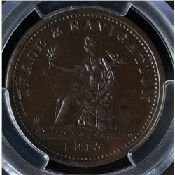 CH NS-20A4 - BR 962, 1813 Trade and Navigation One Penny Token, PCGS AU58. Ex:Temple. *** CHANGE OF