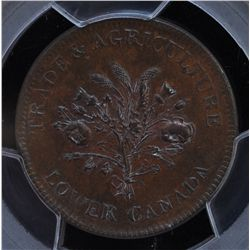 CH LC-3A1 - BR 714, Lower Canada Agriculture UN Sous Token, PCGS MS63 BN. Ex:Temple.