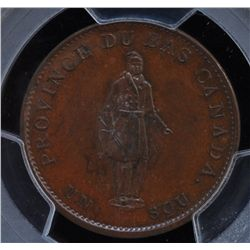 CH LC-8B2 - BR 522, 1837 Lower Canada Agriculture Half Penny Token, PCGS MS64 BN. Ex:Temple.